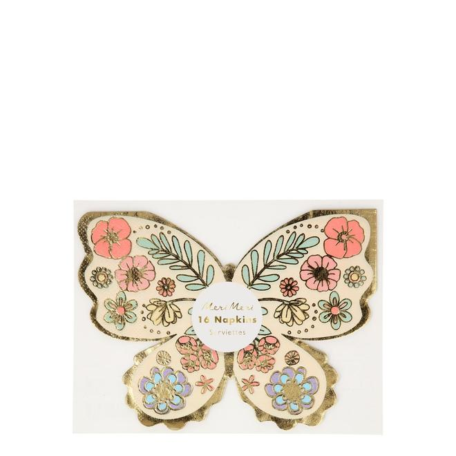 Floral Butterfly Napkins Pack of 16