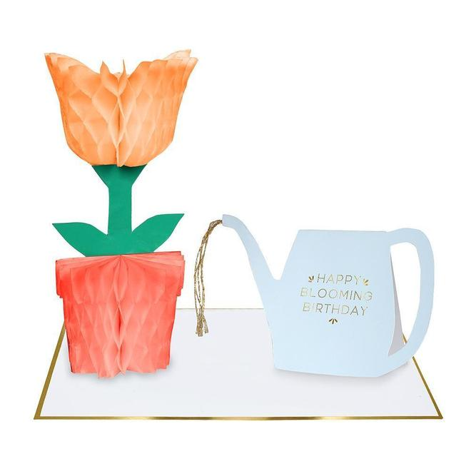 Flower Honeycomb And Watering Can Card