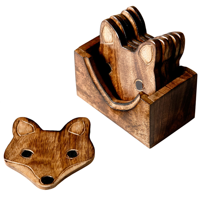 Fox Wooden Coasters Set of 6