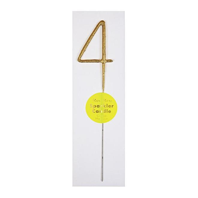 Gold Sparkler Number Candle 4