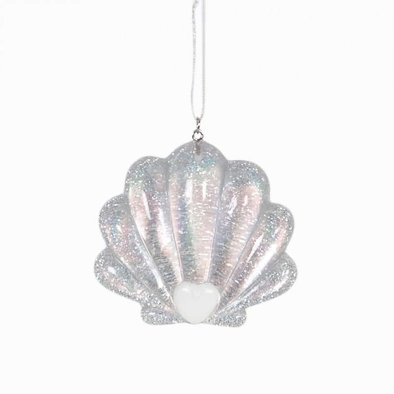 Silver Mermaid Shell Hanging Decoration Bauble