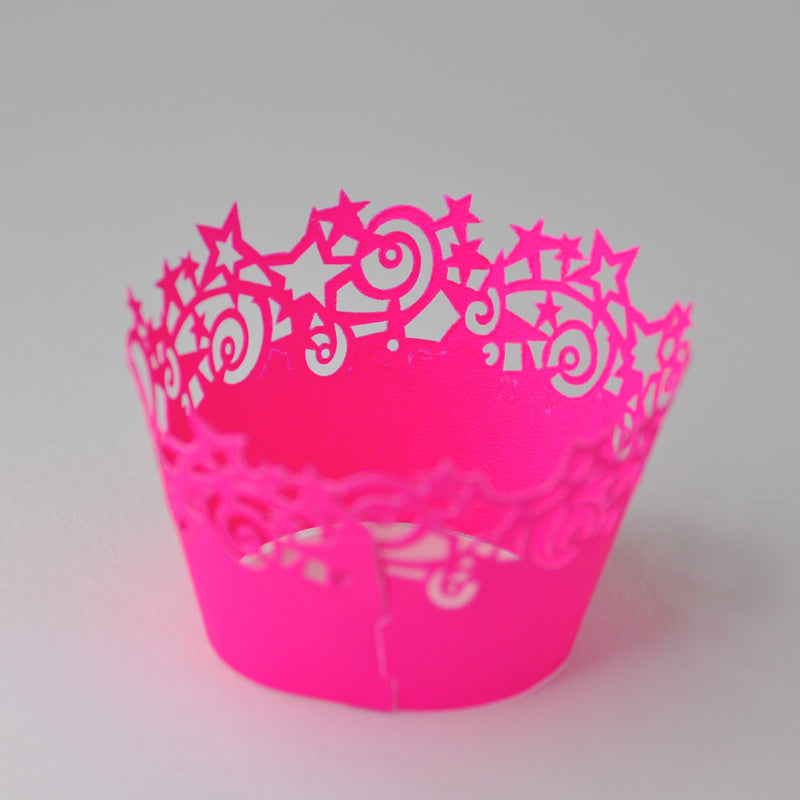 Neon Pink Stars Cupcake Wrappers 6 Pack
