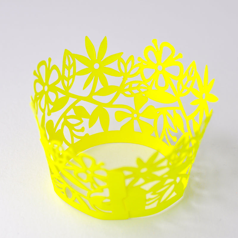 Neon Yellow Flowers Cupcake Wrappers 6 Pack