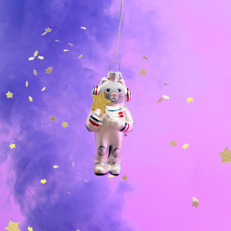 Outer Space Cat Shaped Bauble Hanging Decoration