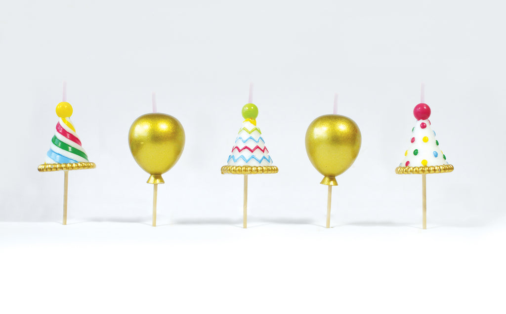 Party Hat Gold Balloon 3D Candles Set of 5