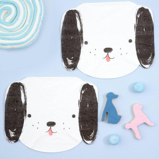 Black and White Dog Napkins Pack of 20