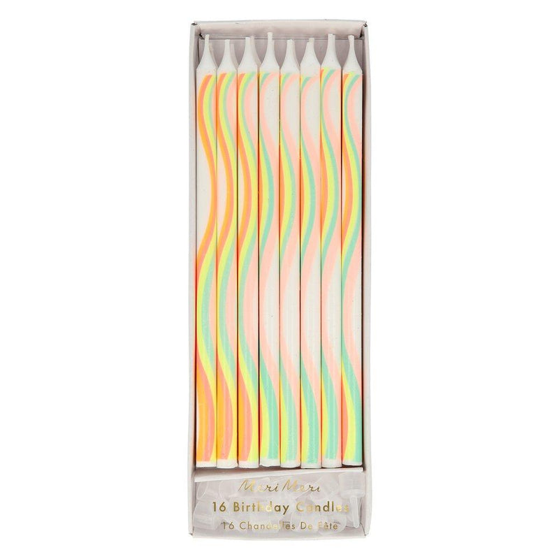Rainbow Pattern Candles Pack of 16