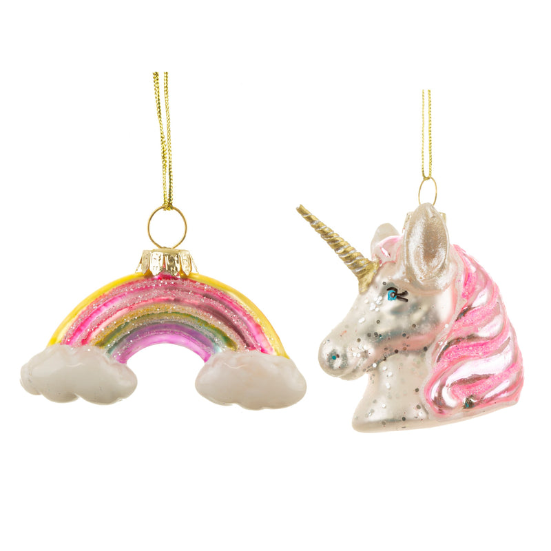 Rainbow & Unicorn Set of 2 Shaped Bauble Hanging Decoration