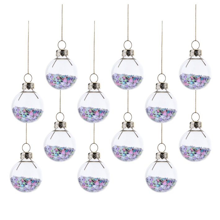 Pastel Stars Baubles - Set Of 12 Hanging Decoration Baubles