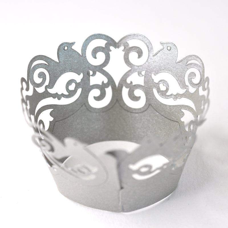 Silver Dove Cupcake Wrappers 6 Pack