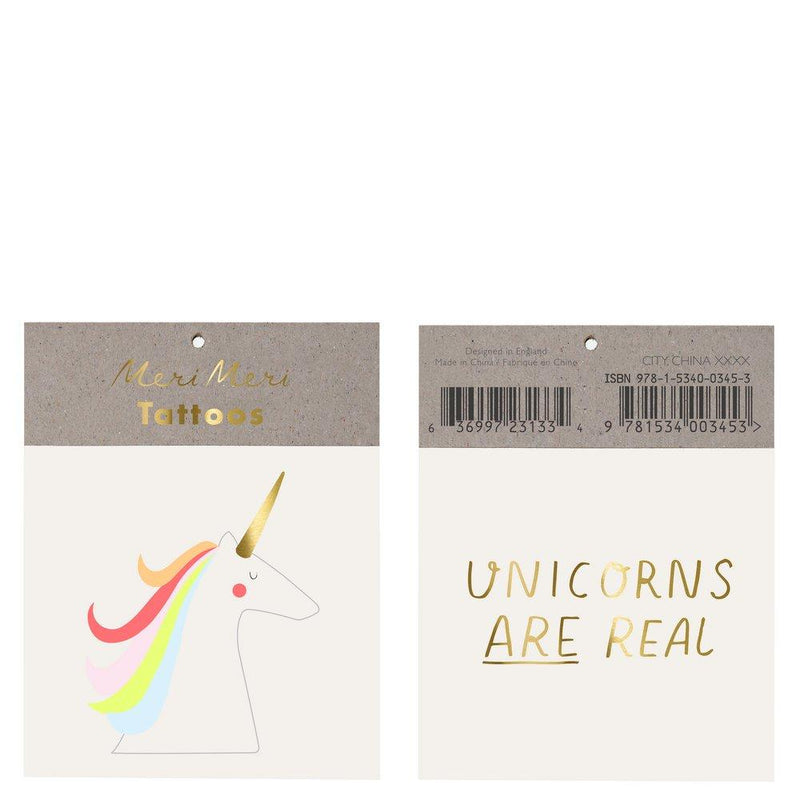 Unicorns Are Real Small Tattoos Pack of 2 Sheets