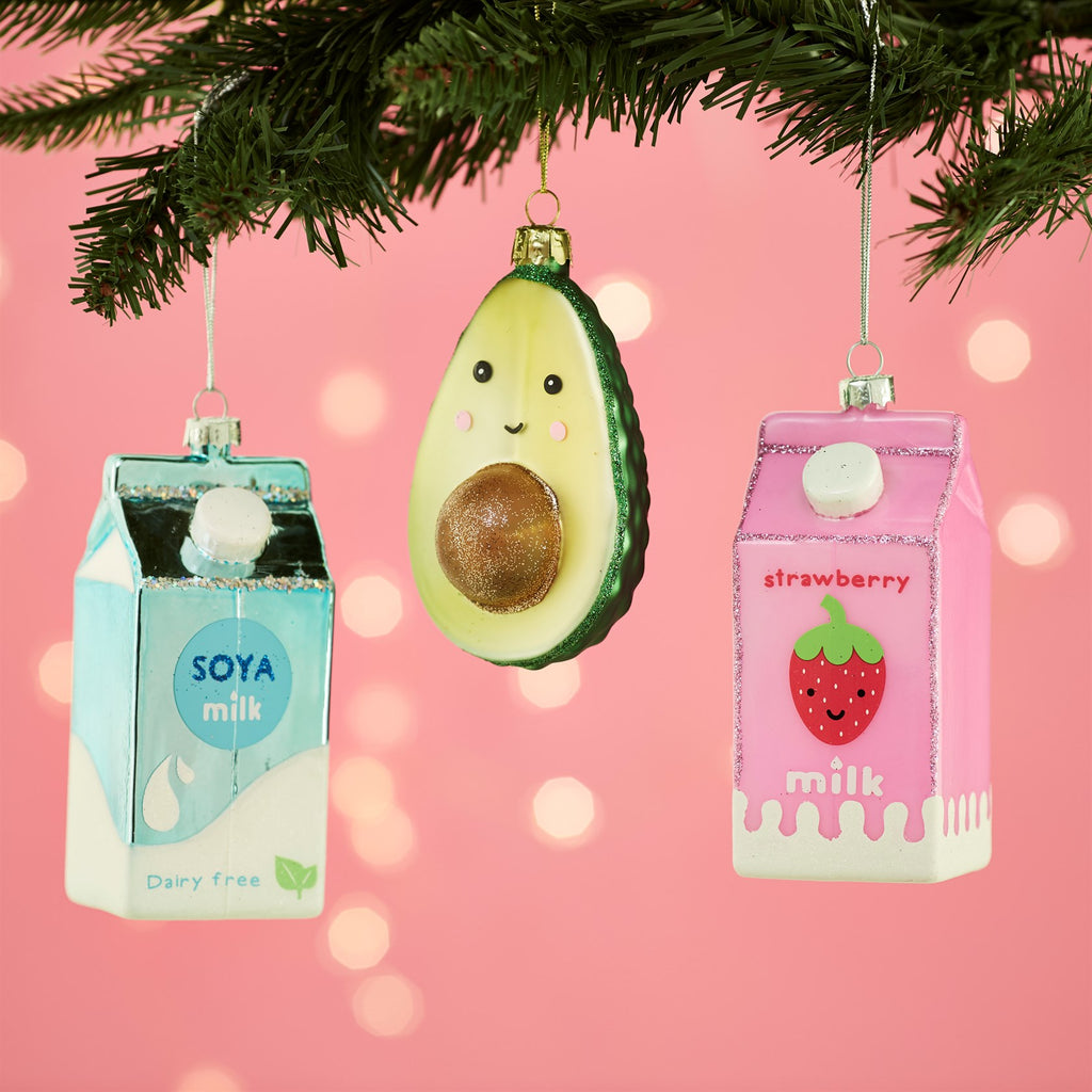 Strawberry Milk Carton Hanging Decoration Bauble