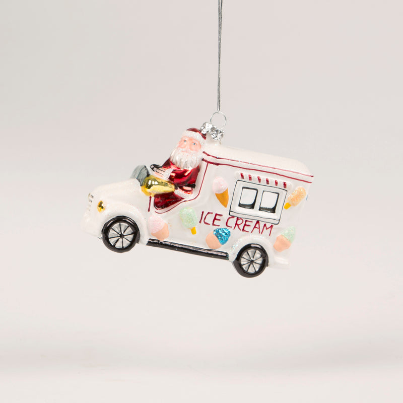 Ice Cream Truck Santa Hanging Decoration Bauble