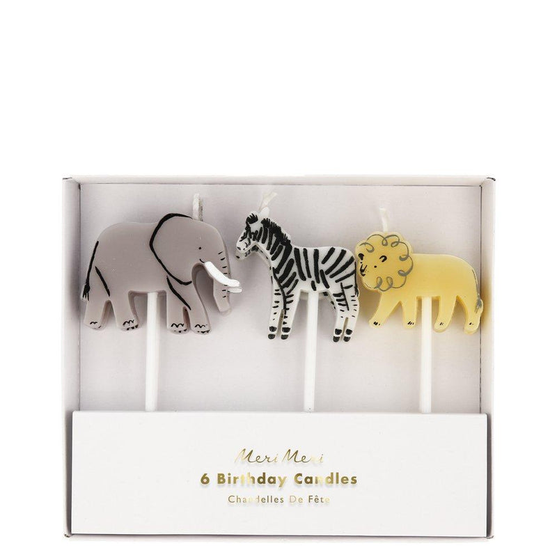 Lion Elephant Zebra Animal Cake Candles (Pack of 6)