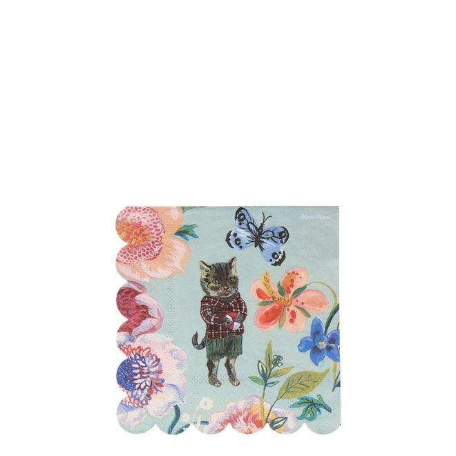 Nathalie Lete Flora Cat Small Napkins Pack of 20