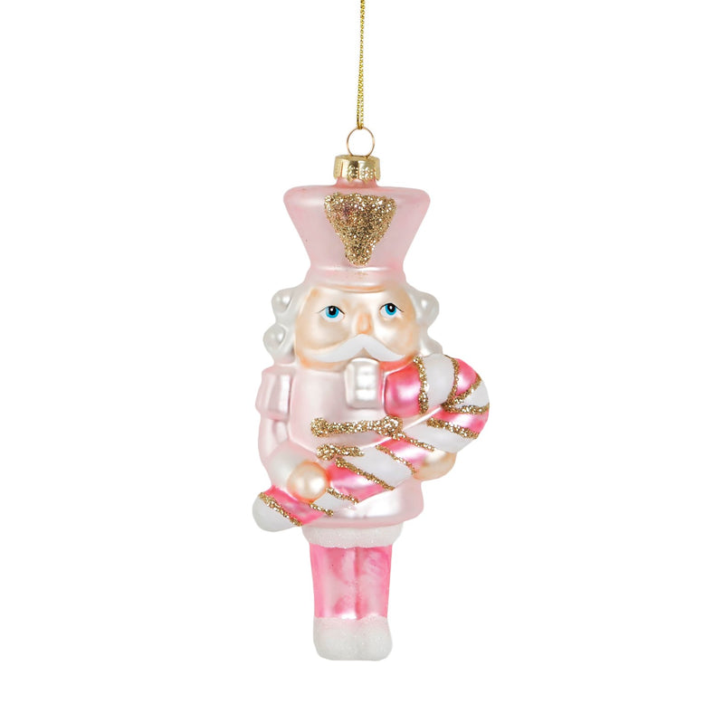 Pink Candy Cane Nutcracker Hanging Decoration Bauble
