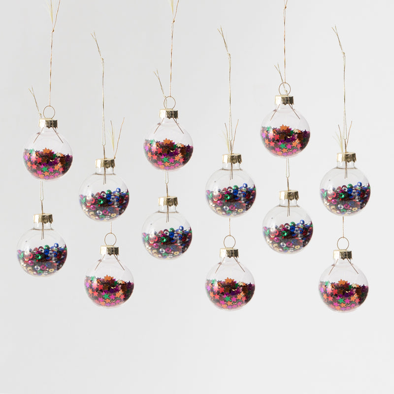 Mini Disco Stars Baubles - Set Of 12 Hanging Decoration Baubles