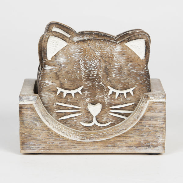 Cat Face Wooden Coaster