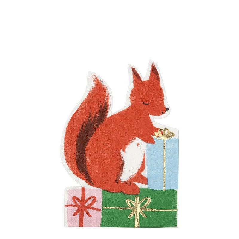 Squirrel with Presents Christmas Napkins Pack of 16