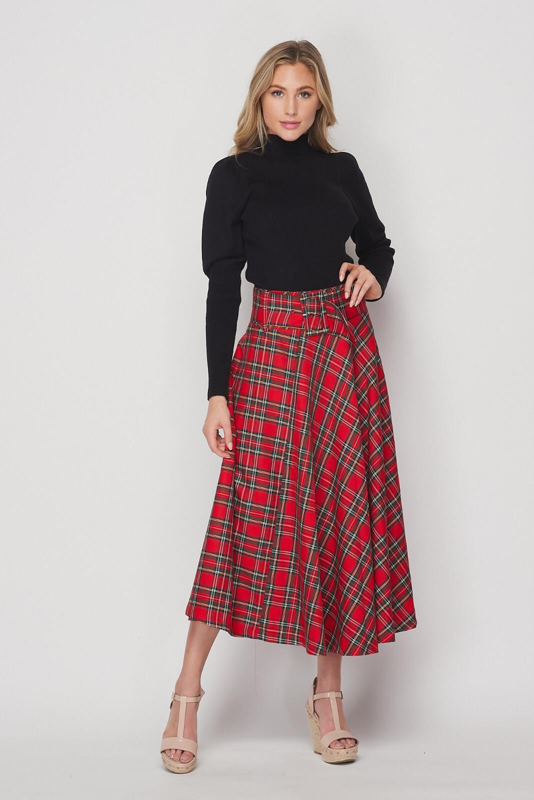 Z11190111 PLAID SKIRT
