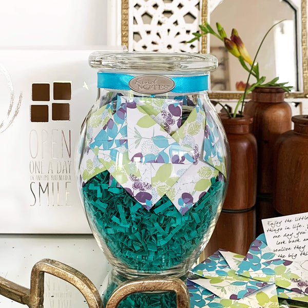 KindNotes Glass Keepsake Gift Jar with Love Messages Heart Garden for Couples