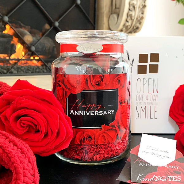 Happy Anniversary Rose Jar of Notes