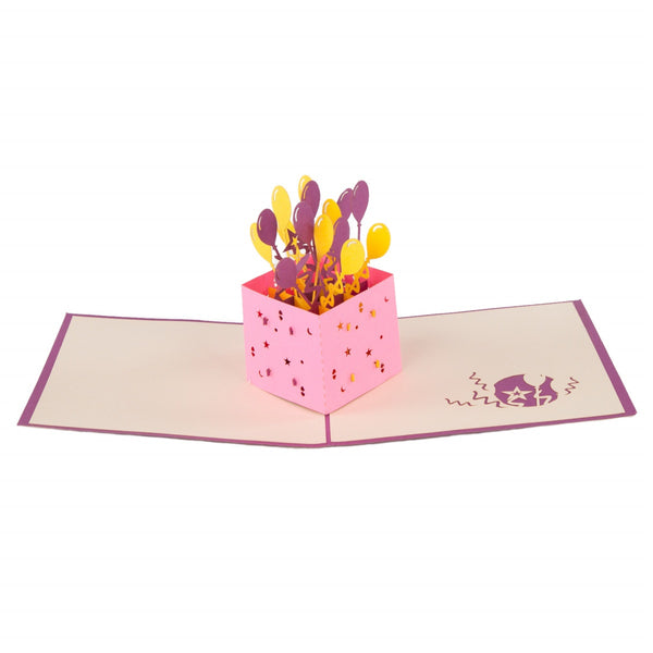 Balloon Surprise Pop-Up 3D Greeting Card