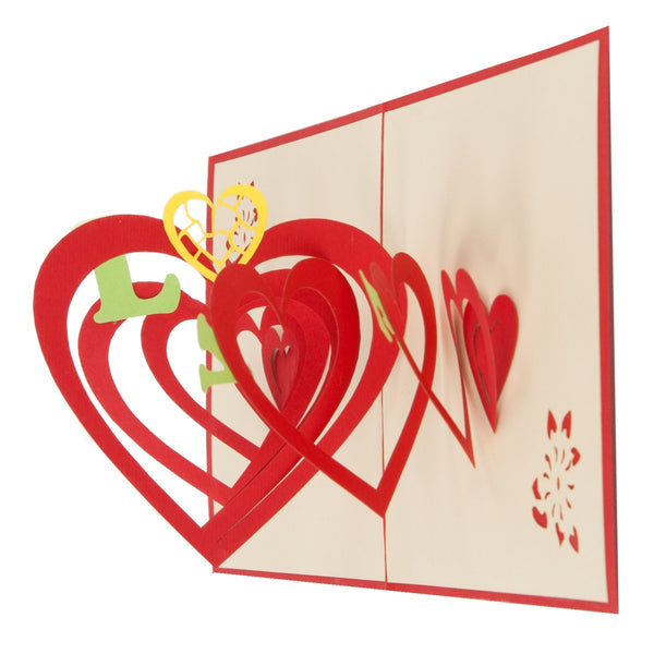Hearts Explosion Pop-Up 3D Greeting Card