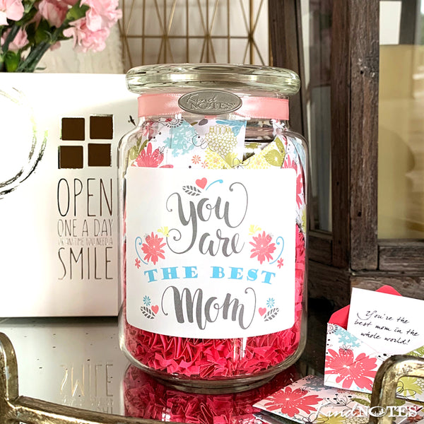 Refreshing Floral Best Mom Jar of Notes