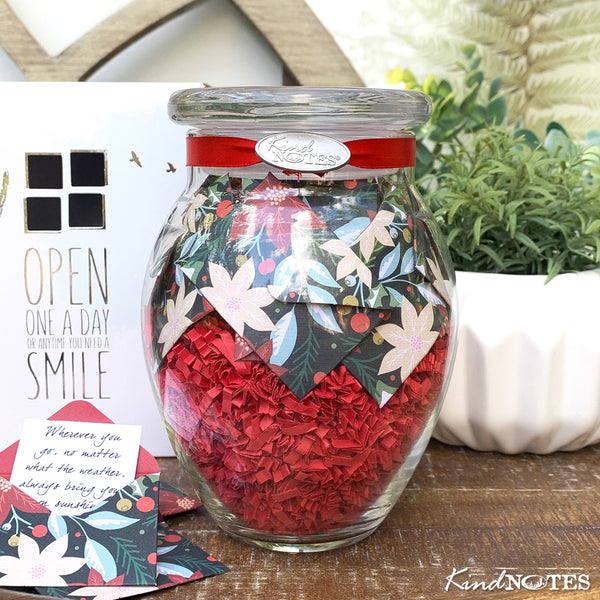 Retro Poinsettias Jar of Notes Holiday Gift