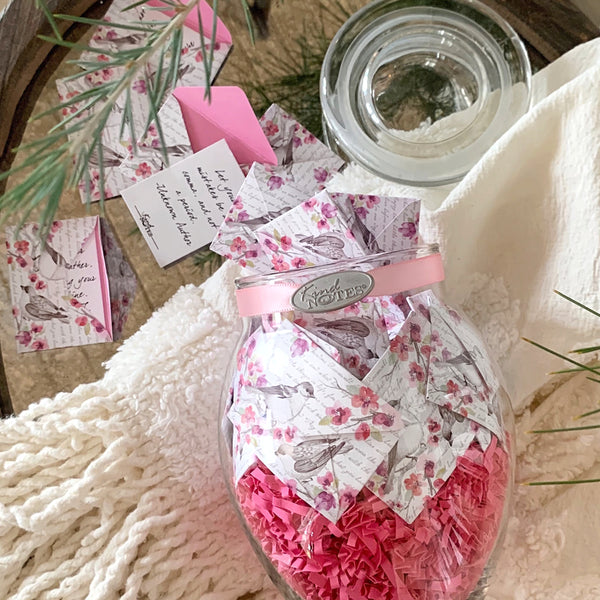 Birds and Flowers Jar with FRIENDSHIP Messages (Wholesale)
