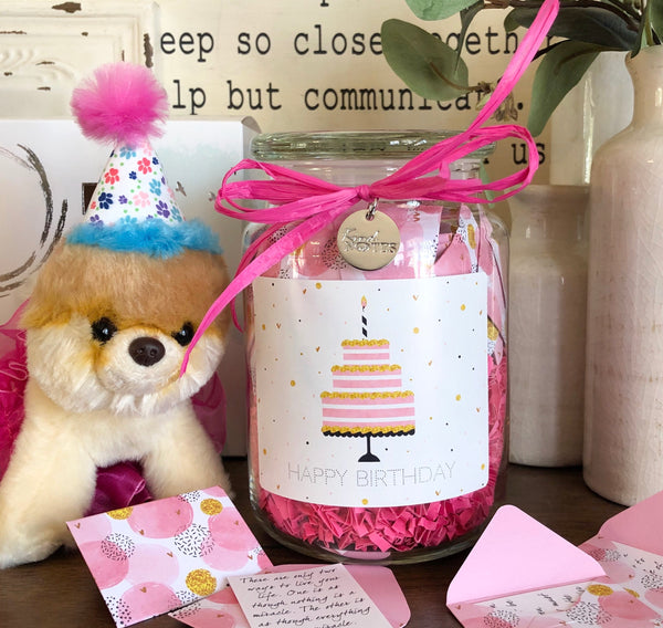 Birthday Cake Jar of Notes with Mini Plush