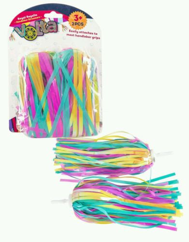 Volta Girl's Handlebar Streamers Bicycle Accessory Set 2 Pack Pink Blue, Yellow