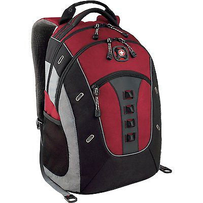 "Wenger Swiss Gear Granite Deluxe Laptop Backpack Red Black 16"" School bag Case"