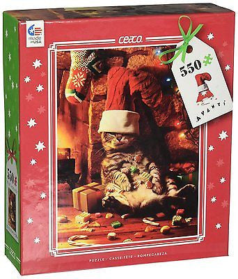 Ceaco Avanti Christmas - Stuffed Cat - Holiday Puzzle (550 Piece)