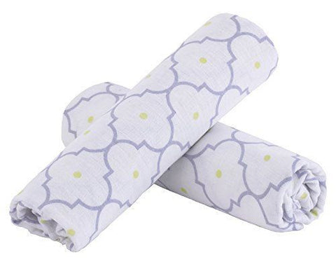 Balboa Baby Lavender Poppy Muslin Receiving Blanket 2pk Swaddle Purple and White