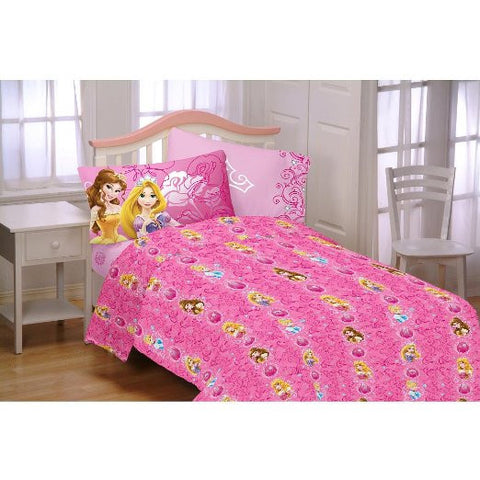 Disney Princess Shine All The Time Twin Sheet Set Pink Girl's Room Decor Bedding