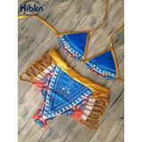 High Waist African Print Strap Swimsuit
