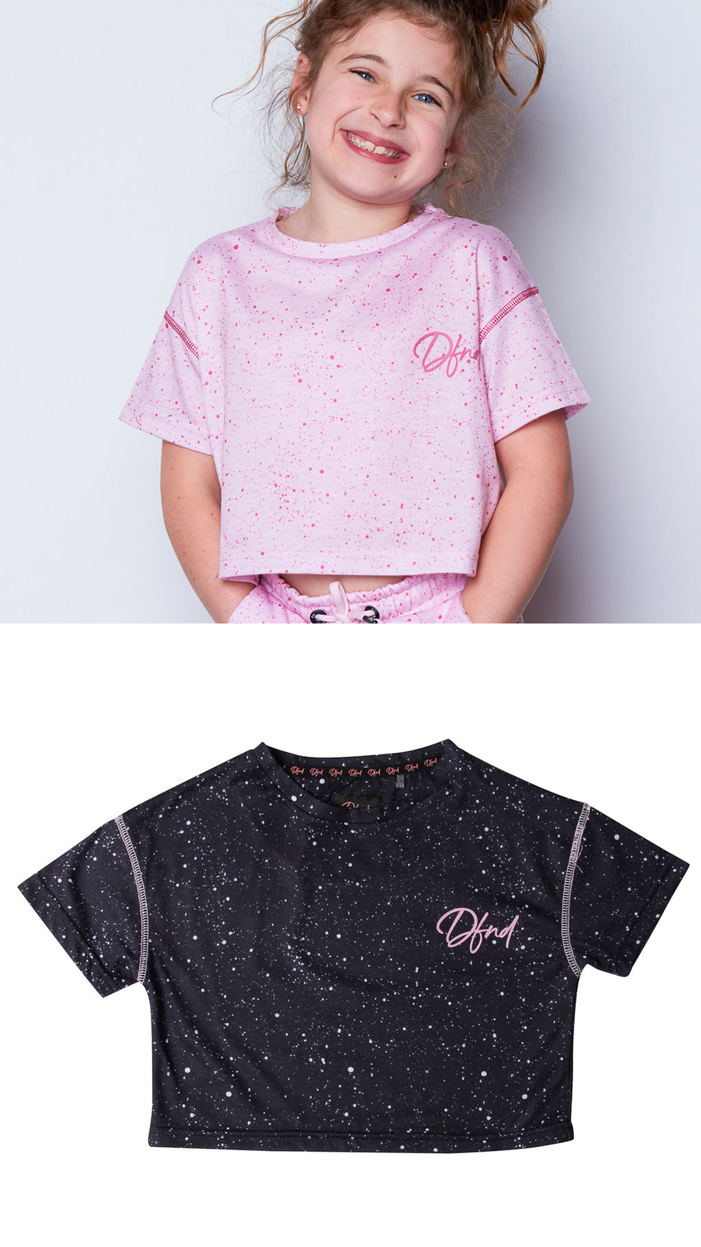 Girl's Two Pack Drops T-Shirt in Pink and Black