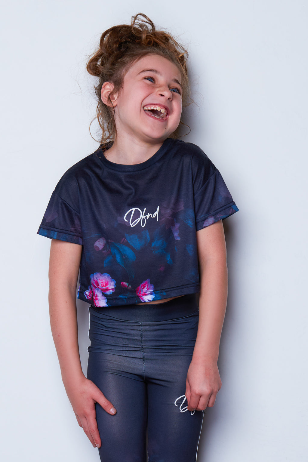 Girl's Forest Crop T-Shirt in Black/Multi