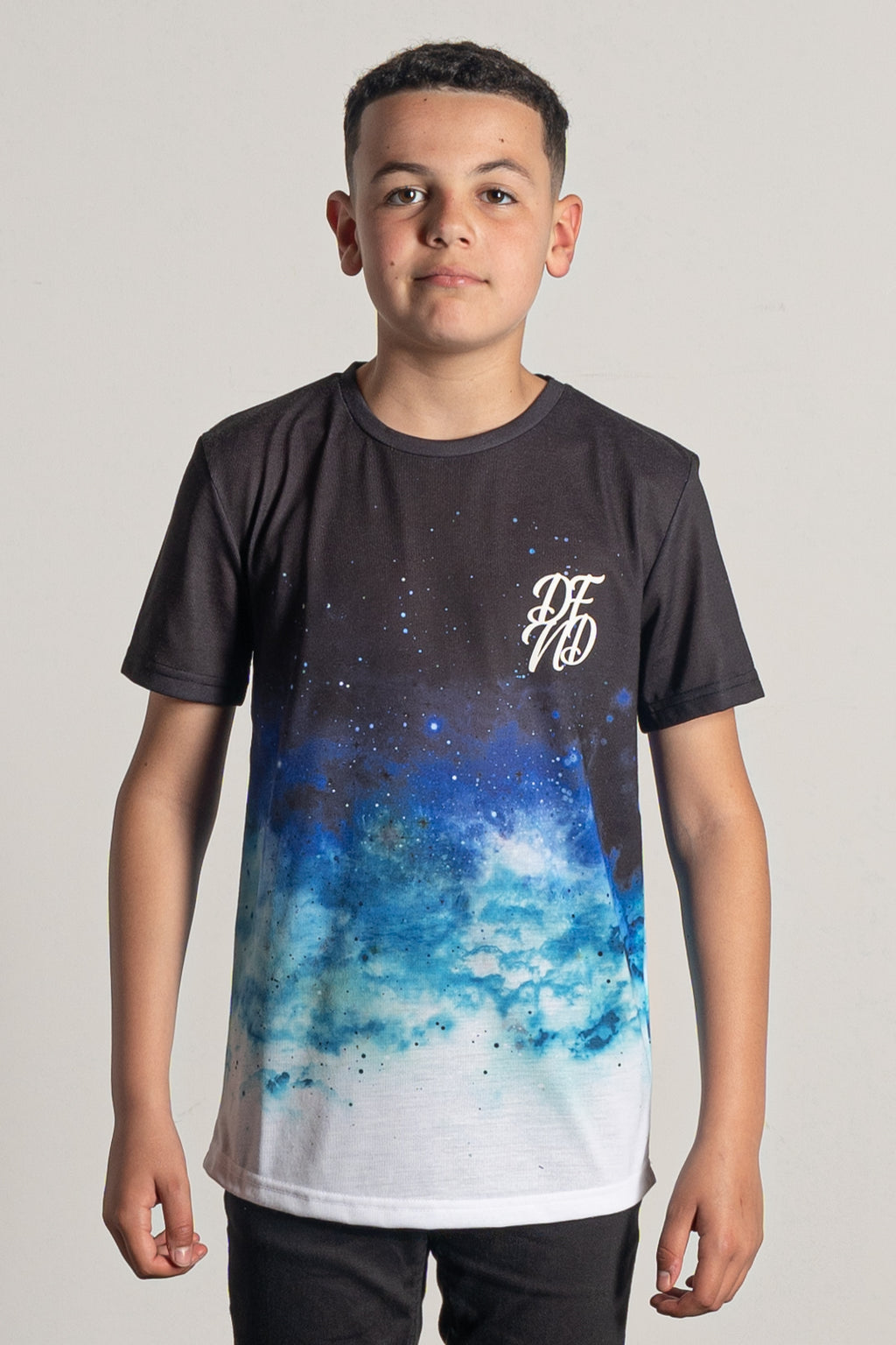 Boy's Clouds T-Shirt in Black, Blue & White