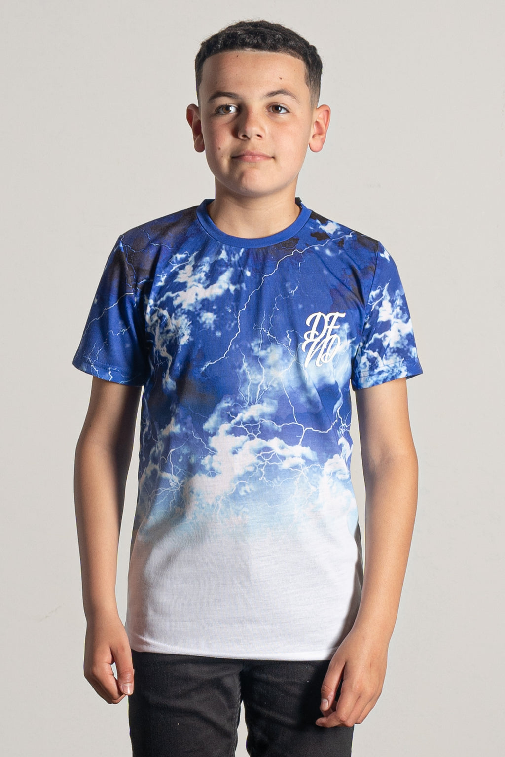 Boy's Heavens T-Shirt in Blue & White
