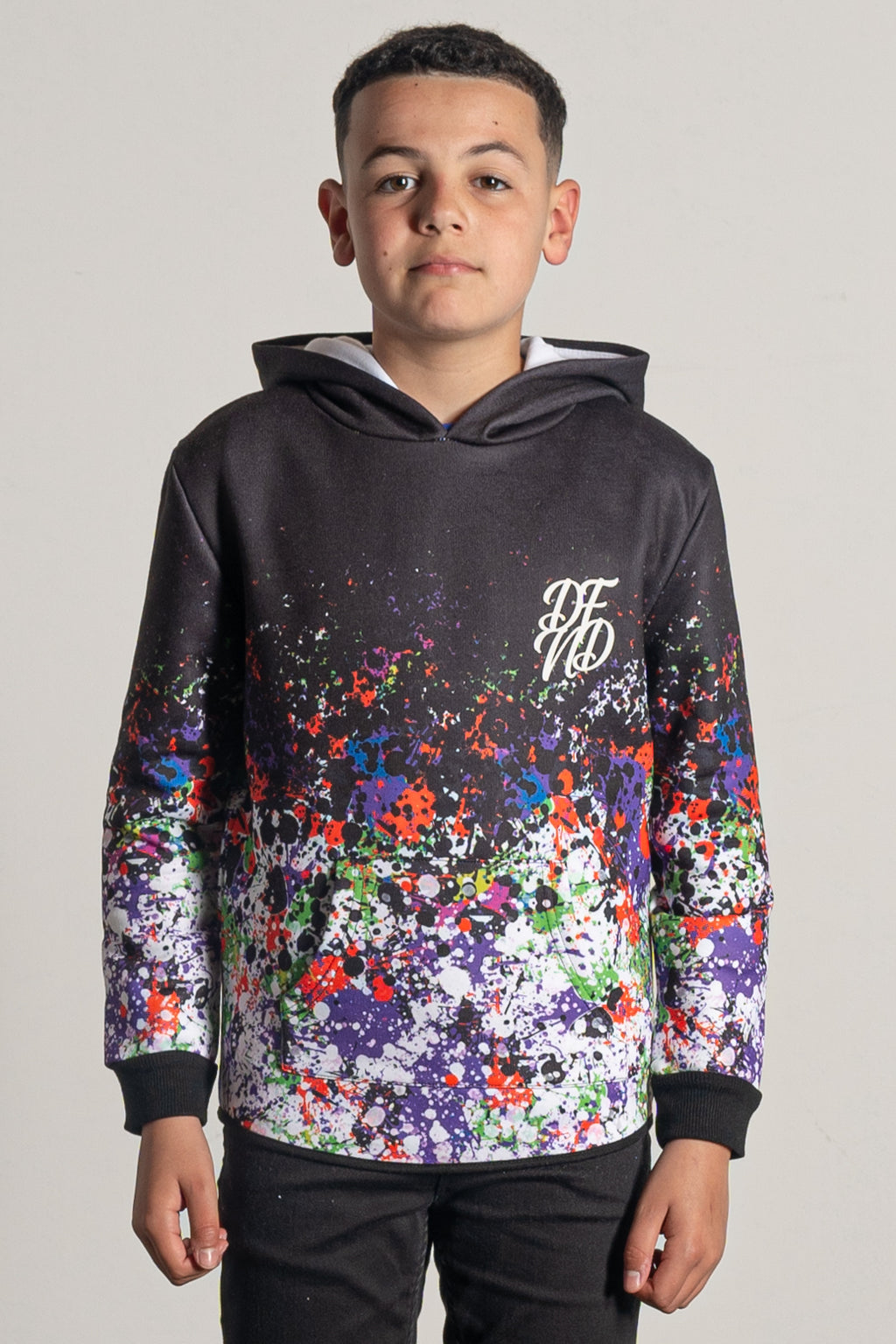 Boy's Hazard Hoodie in Black & Multi