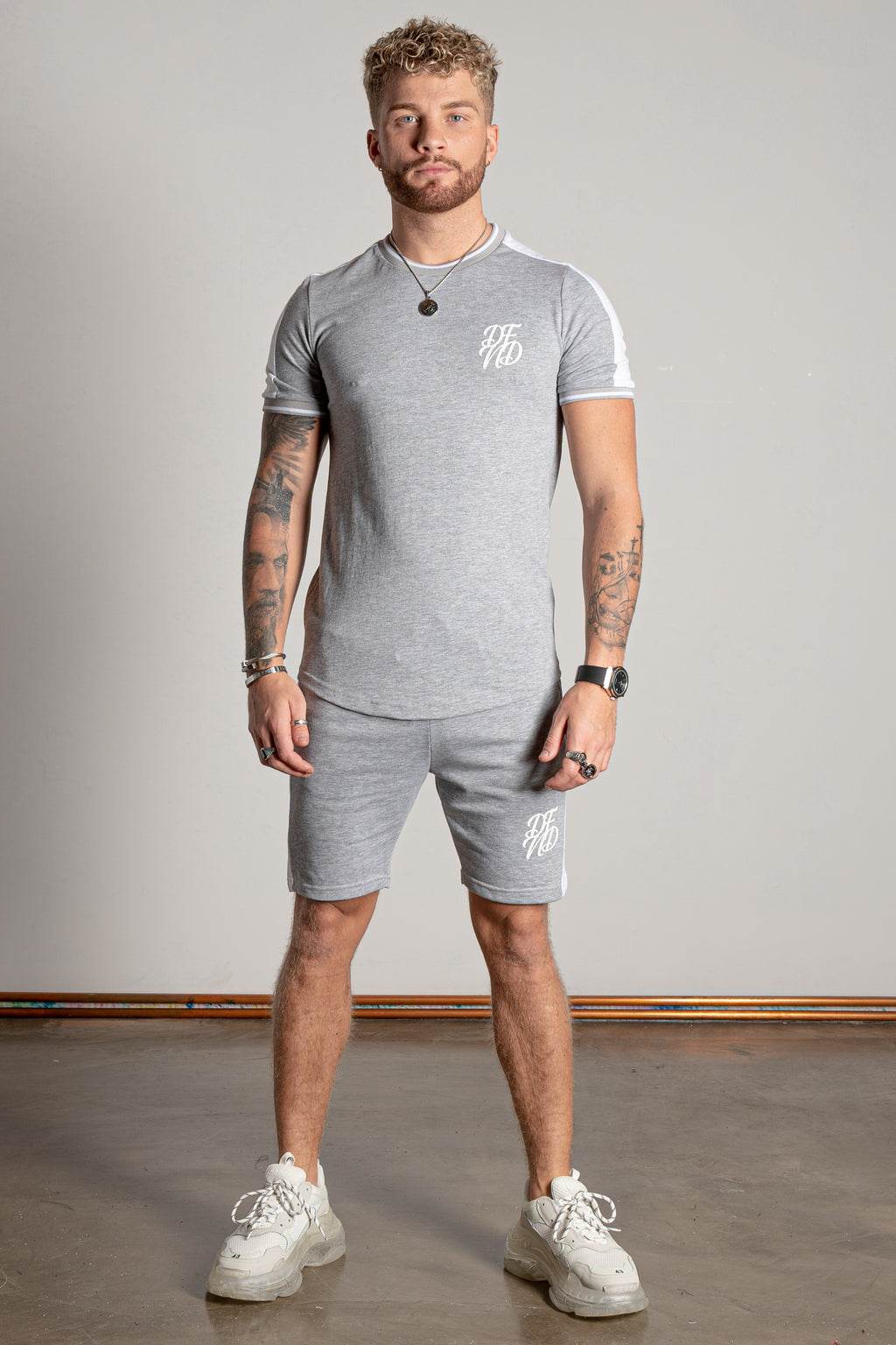 Men's Breach T-Shirt & Shorts Twin Set in Grey Marl