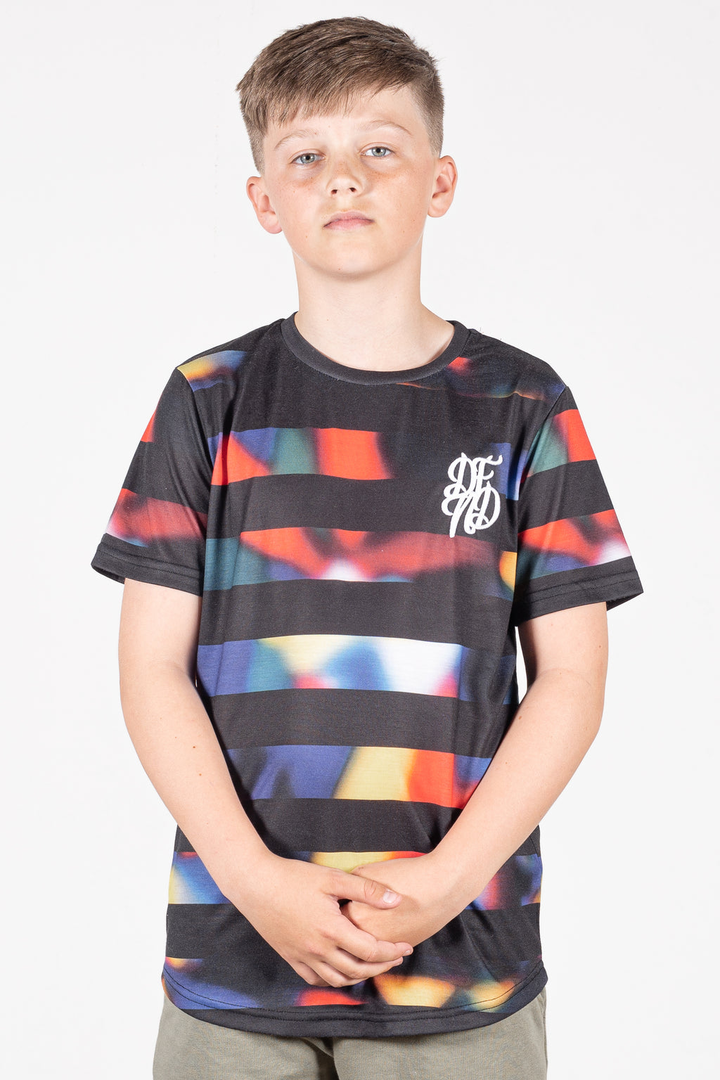 Boy's Superstripe T-Shirt in Black - DEFEND LONDON