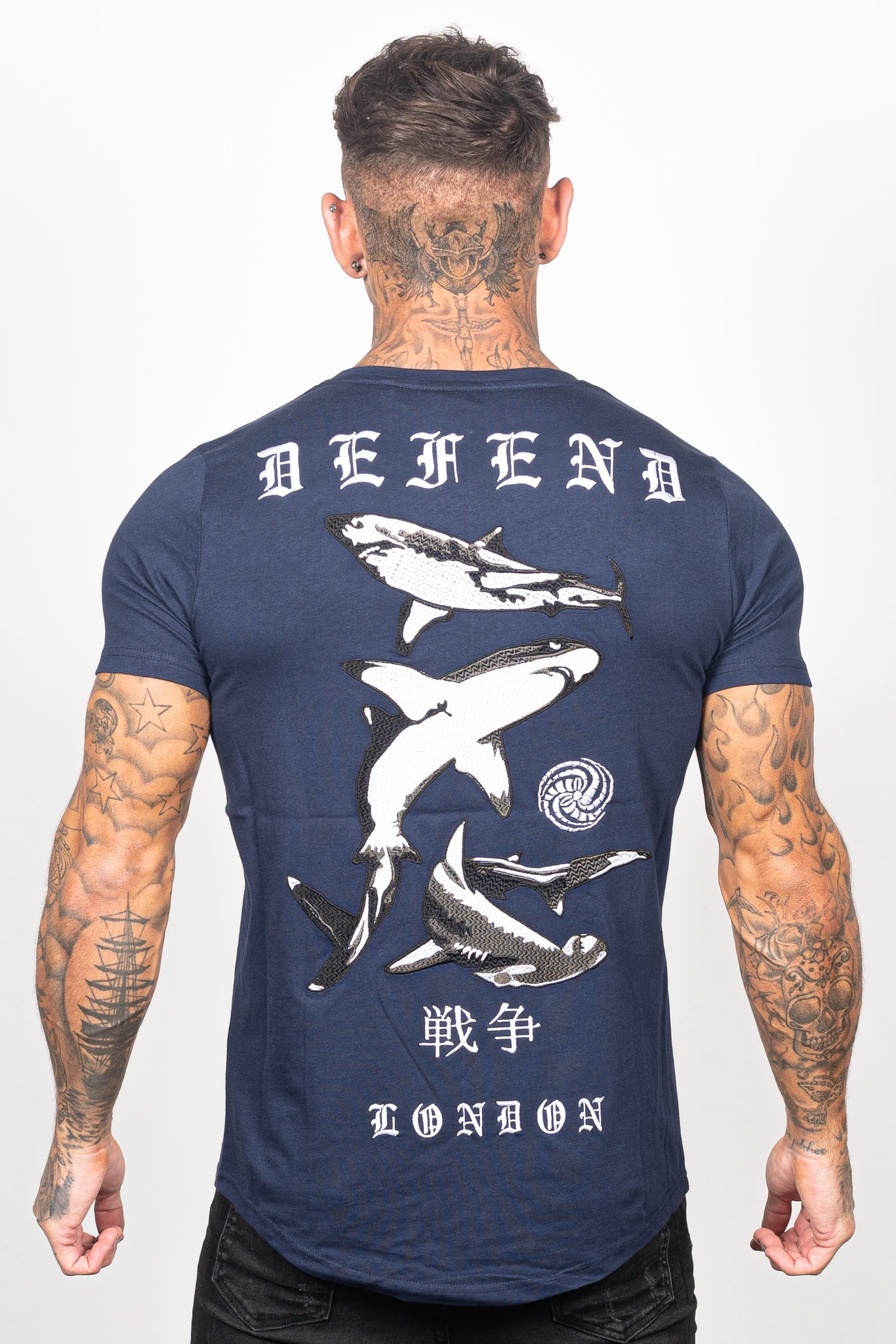 Men's Mako T-Shirt in Navy - DEFEND LONDON