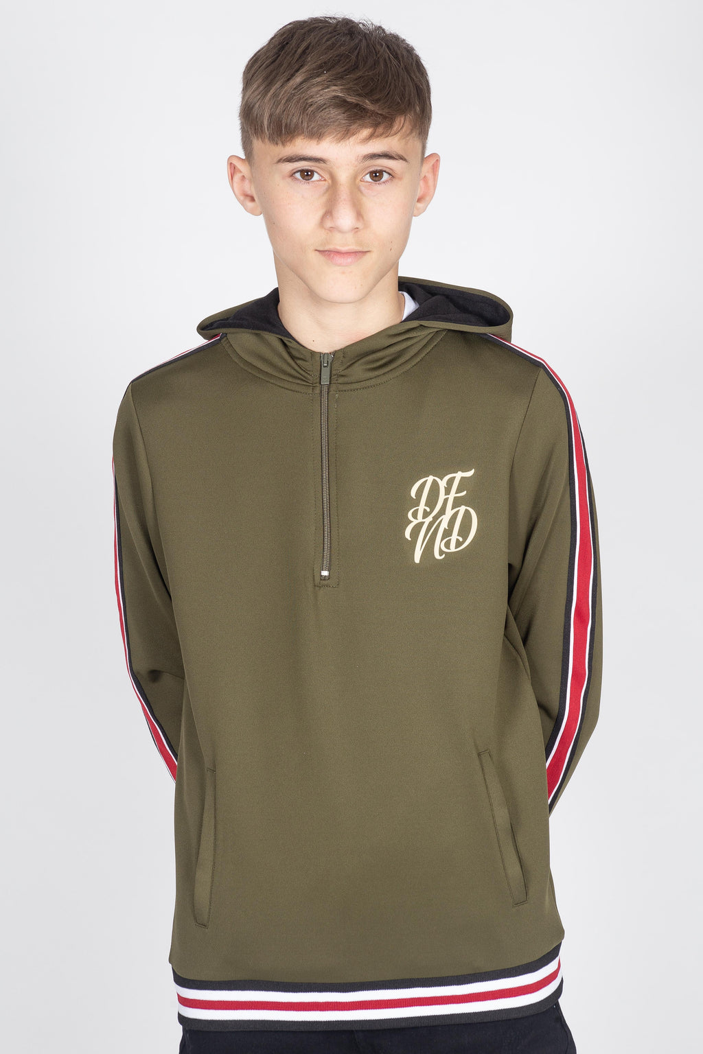 Boy's Patrick Hoodie in Khaki - DEFEND LONDON