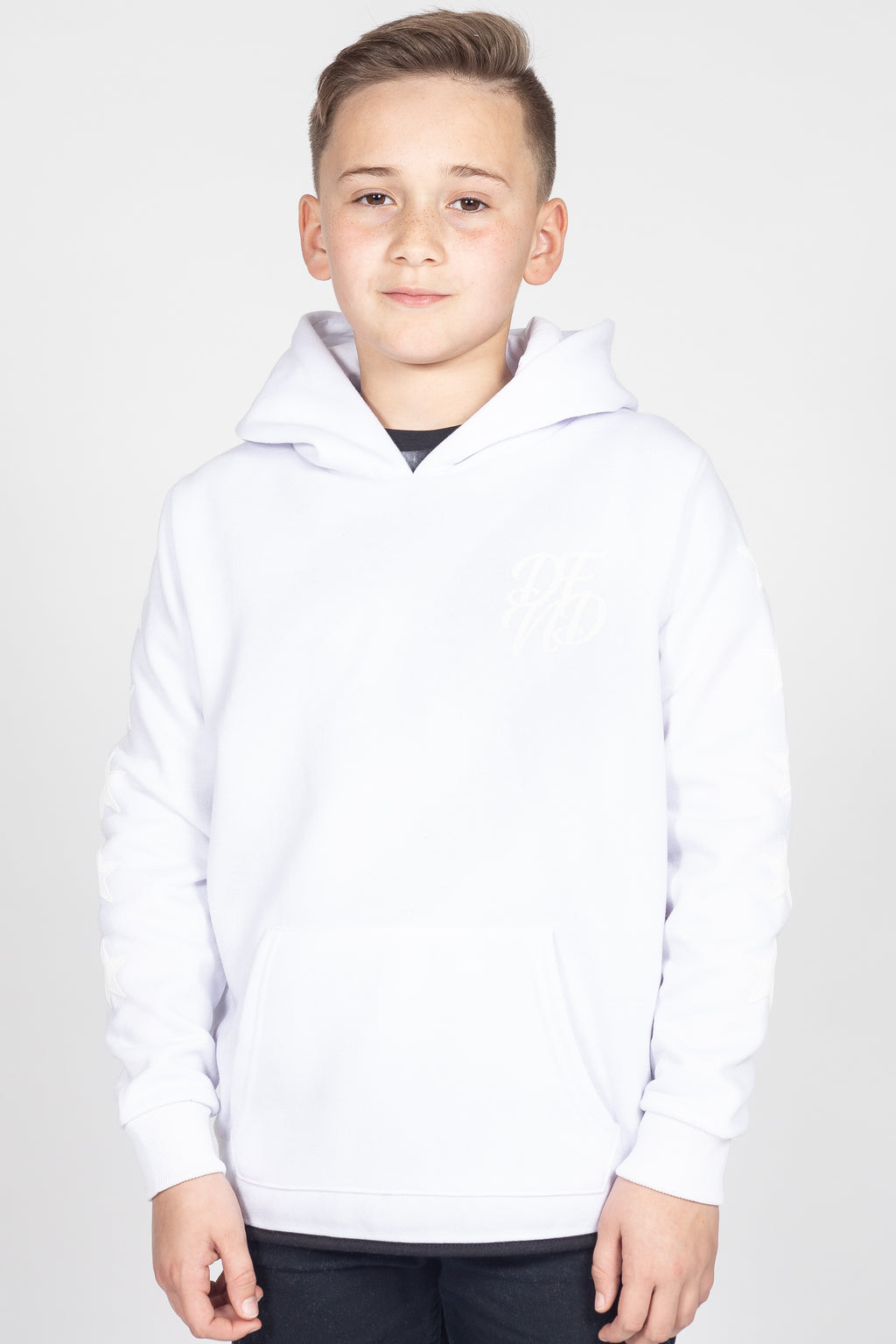 Boy's Crosstar Hoodie in White on White - DEFEND LONDON