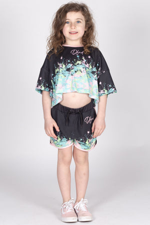 Girl's Art Crop Top in Black - DEFEND LONDON