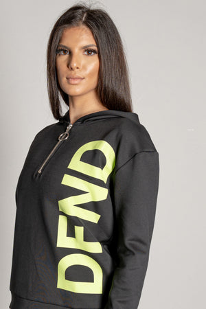 Women's Lana Hoodie in Black & Green